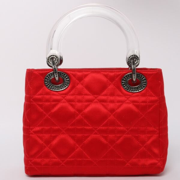 Dior Silk Satin Lady Cannage Stitch Rhinestone Handbag S Red