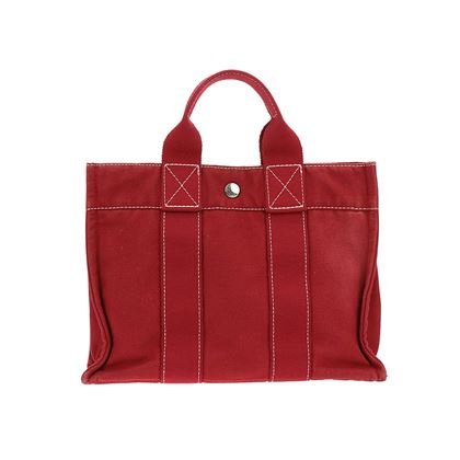 hermes-red-canvas-toto-handbag-tote