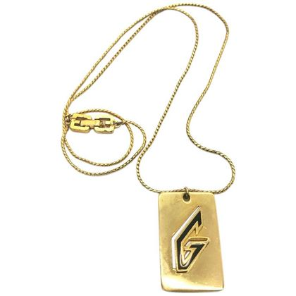 givenchy-1970s-gold-plated-g-logo-pendant-necklace