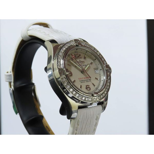 Picture of Breitling Colt Oceane White Automatic Ladies Watch with Diamond Bezel