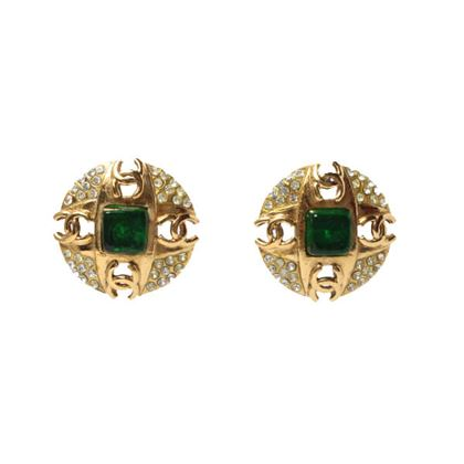 chanel-round-4-cc-mark-plate-stone-earrings-green