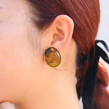 chanel-oval-stone-cc-mark-earrings-brown
