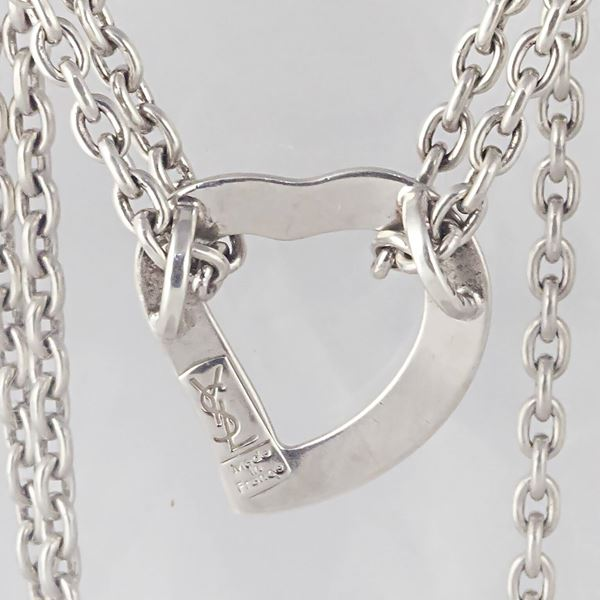 ysl-double-chain-silver-necklace-with-heart-pendent
