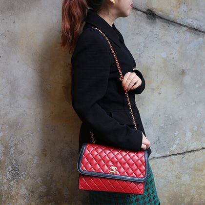 chanel-piping-design-flap-turn-lock-chain-bag-with-pouch-red