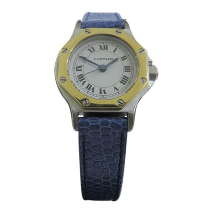 Picture of Cartier Octagon Santos Vintage Ladies Watch in Gold & Stainless Steel