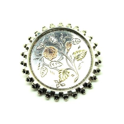 antique-victorian-silver-gold-engraved-flower-brooch