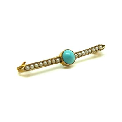 antique-victorian-turquoise-seed-pearl-9ct-gold-gemstone-brooch