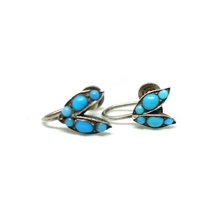 antique-victorian-turquoise-sterling-silver-screw-leaf-gemstone-earrings