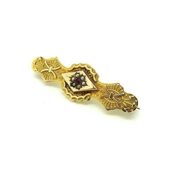 antique-victorian-1888-ruby-pearl-9ct-gemstone-gold-brooch