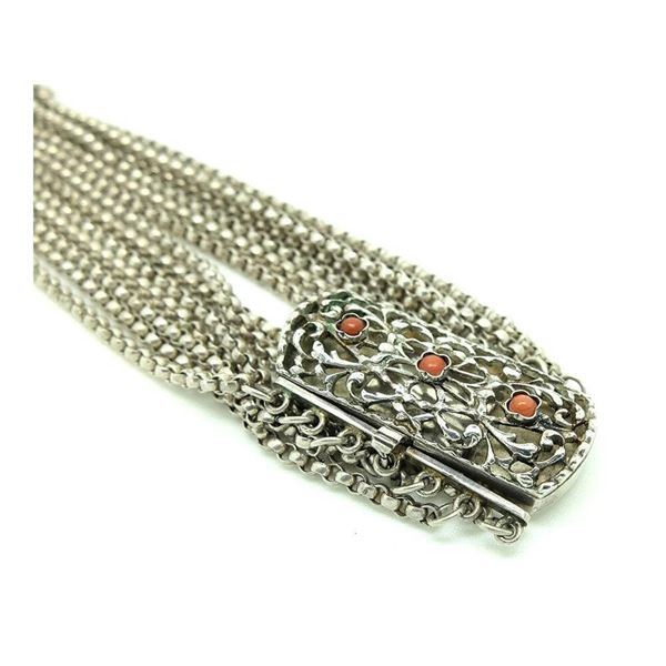 Antique Victorian Sterling Silver Coral Gemstone Wrap Bracelet