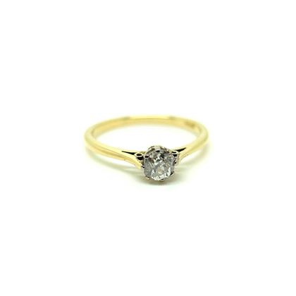 Antique Victorian Old Cut Solitaire Diamond 0.45ct Gemstone Engagement Ring