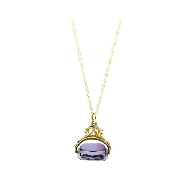 vintage-1967-amethyst-glass-9ct-gold-fob-charm-necklace