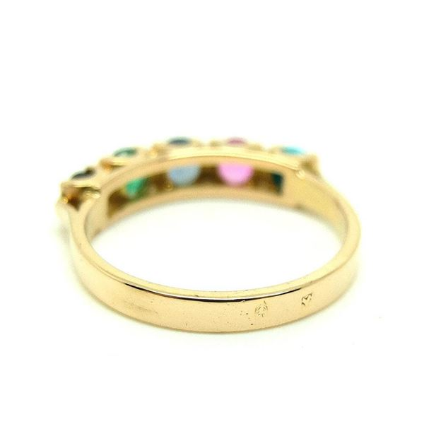 Antique 1900 French Emerald & Sapphire Gemstone 18ct Gold Ring - Ring Size P/8