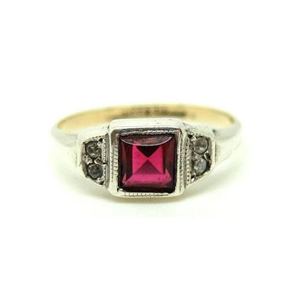 vintage-1930s-red-glass-silver-9ct-gold-ring