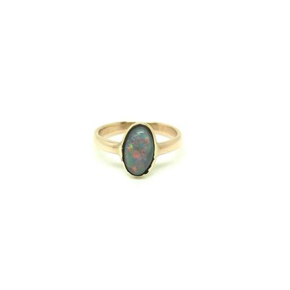 Antique Edwardian 9ct Rose Gold Opal 9ct Pinky Ring