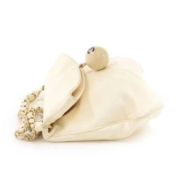 chanel-white-lambskin-leather-ball-charm-fold-over-shoulder-bag-rare