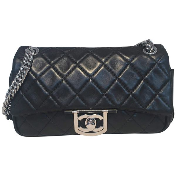 Chanel Black Leather 10inch Classic Flap With Chain