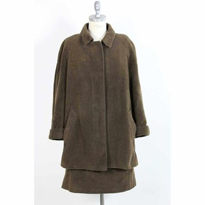 yves-saint-laurent-suit-skirt-jacket-check-cashmere-boucle-vintage-brown
