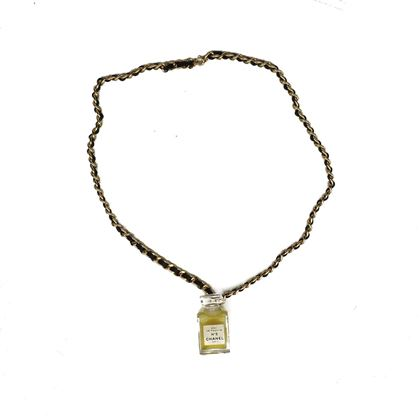 chanel-perfume-bottle-necklace-pendant-black-leather-gold-chain-no-5-vintage-pre-owned-used