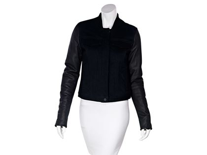 black-alexander-wang-leather-sleeve-denim-jacket