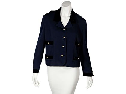 navy-blue-vintage-chanel-button-front-jacket