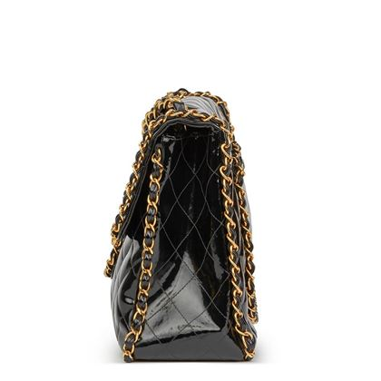 black-quilted-vinyl-chain-around-vintage-maxi-jumbo-xl-flap-bag