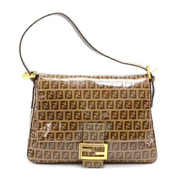 Fendi Forever Mama Brown Zucchino Vinyl Coated Canvas Flap ...