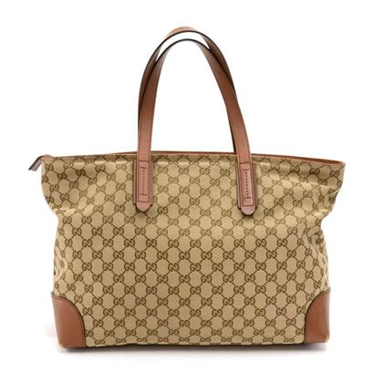 gucci-beige-ggcanvas-brown-leather-tote-bag