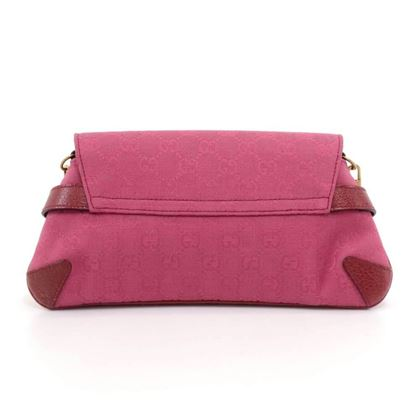 gucci-horsebit-fuchsia-pink-gg-canvas-red-leather-shoulder-clutch-bag