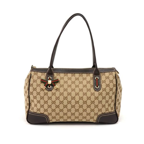 gucci-princy-line-beige-gg-canvas-brown-leather-ribbon-tote-bag