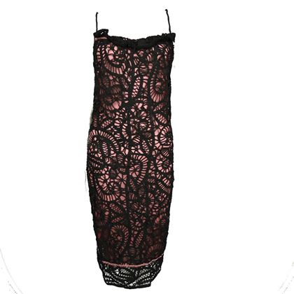 john-galliano-lace-dress-pink-and-black-shift-mid-length-ruffle-trim-us-2-pre-owned-used
