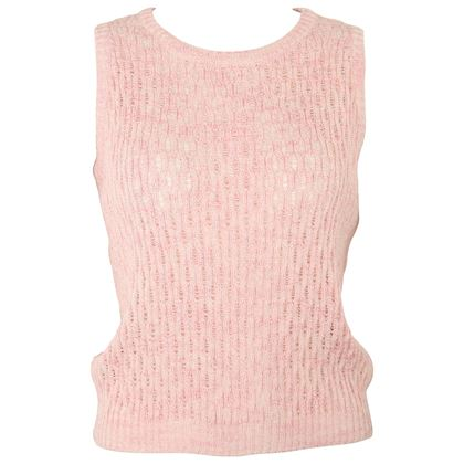 gianni-versace-sport-pink-cotton-knitted-sleeveless-pullover-top