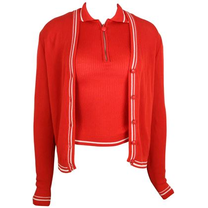 gianni-versace-couture-red-and-white-knitted-sleeveless-top-and-cardigan-twinset