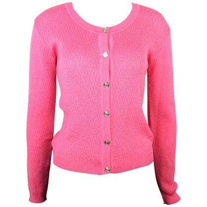 gianni-versace-jeans-couture-pink-knitted-cardigan