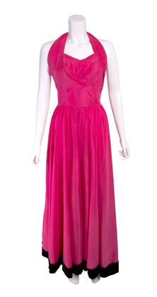 1930s-pink-satin-and-black-velvet-halterneck-vintage-evening-gown