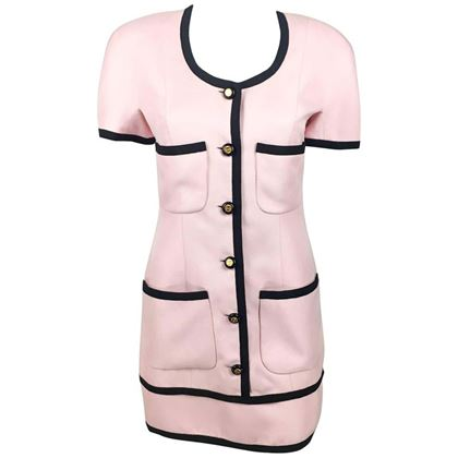 chanel-pink-short-dress-with-logo-buttons-1991