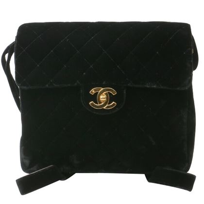 Chanel Velor Square Classic Flap Backpack Black