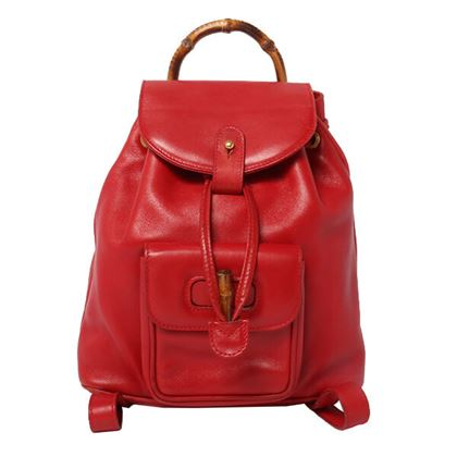 Gucci Leather Bamboo Backpack Red
