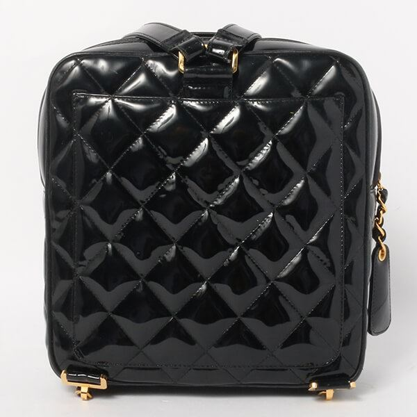 Chanel Patent Square Turn-lock Backpack Black