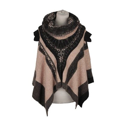 high-beige-gray-mohair-knit-poncho-sweater-size-s