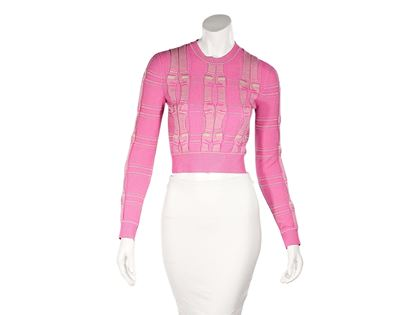 pink-fendi-cable-knit-cropped-sweater