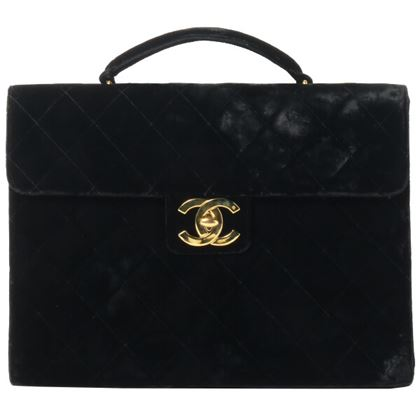 Chanel Velor CC Turn-lock Briefcase Black