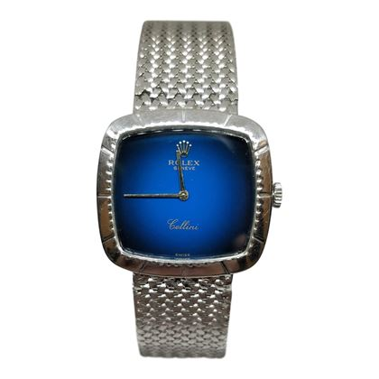 Picture of Vintage Rolex Cellini Mens Watch with Blue Face and Mesh Strap