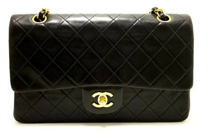 chanel-255-double-flap-10-chain-shoulder-bag-lambskin-black-2