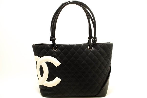 cfea7c9b41c9a Chanel Cambon Tote Large Shoulder Bag Black White Quilted Calfskin