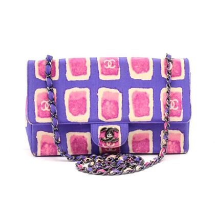 chanel-10-purple-pink-watercolor-printed-fabric-single-chain-flap-bag-limited-ed
