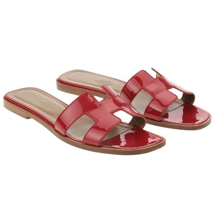 hermes-oran-red-patent-leather-slide-sandals-385
