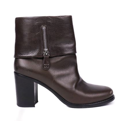 chanel-brown-boots-cc-fold-over-zip-leather-heels-41-us-9-pre-owned-used