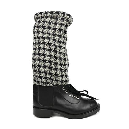chanel-boots-combat-sock-black-white-houndstooth-lace-up-tweed-shoe-375-us-75-pre-owned-used