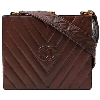 chanel-v-stitch-cc-mark-shoulder-bag-brown